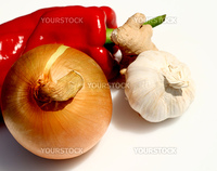 vegetable ingredients of onion garlic ginger and sweet pepper