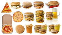 Assortment of fast food isolated on white background