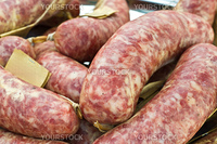 Traditional Italian sausages on display at farmer's market