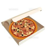 Realistic illustration pizza in box - vector