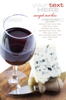 Still life with red wine and cheese  (with sample text)