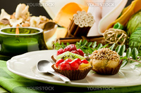 photo of delicious dessert plate with italian fruits pastries