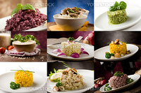 photo of delicious different risotto meals arranged into a collage