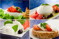 photo of different tomato mozzarella appetizers arranged into a collage