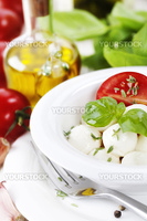 mozzarella with fresh basil, olive oil, garlic and tomatoes