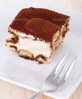 Portion of tiramisu on a plate