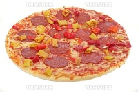 A typical pizza. All isolated on white background.