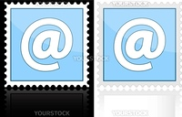 Icon e-mail blue on a white background, vector illustration.