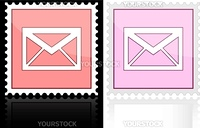 Icon e-mail pink on a white background, vector illustration.