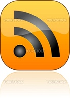 Glossy RSS button with shadow. Vector illustration. EPS10