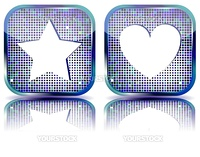 Glossy web 2.0 button with favorites icon and halftone effect. Vector illustration.