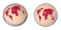3D button with world map - brown colour
