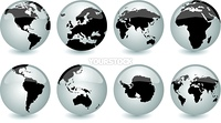 vector set of glossy globes