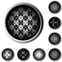 web buttons with halftone raster pattern in black and white
