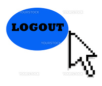 Black mouse cursor pointing towards blue logout button, isolated on white background.