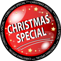 illustration of a red christmas special button