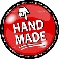 illustration of a red hande made button