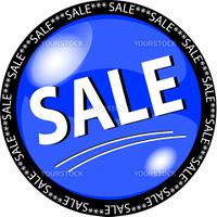 illustration of a blue sale button