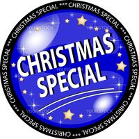 illustration of a blue christmas special button