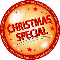 illustration of a golden christmas special button