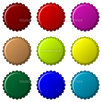 bottle caps in colors isolated on white background, abstract vector art illustration