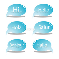 hello text bubbles, vector art illustration, for more text bubbles and drawings please visit my gallery