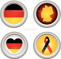 Germany Buttons with ribbon, heart, map and flag