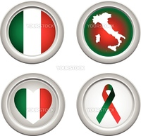 Italy Buttons with ribbon, heart, map and flag