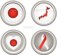 Japan Buttons with ribbon, heart, map and flag