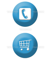 Internet shopping basket and telephone icon on buttons, isolated on white background.