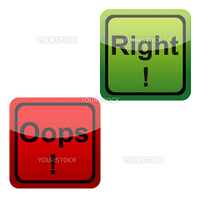 illustration of set of oops and right icons n isolated background