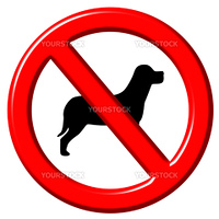 No dogs 3d sign isolated in white