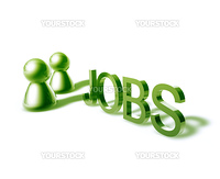 Jobs online word graphic, with stylized people icons