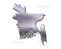 Bangladesh 3d silver map isolated in white