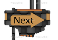 """arrow sign pointing spelling the word """"Next"""""""