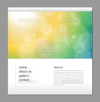Website template orange green, editable vector
