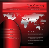 Website template red, editable vector