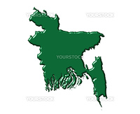 Bangladesh 3d map with national color isolated in white