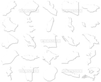 Lebanon-Netherlands 3D White Maps isolated in white