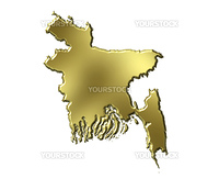 Bangladesh 3d golden map isolated in white