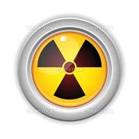 Vector - Radioactive Danger Yellow Button. Caution Radiation
