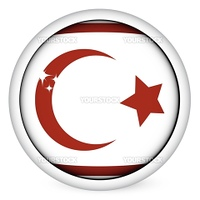 Northen Cyprus sphere flag button, isolated vector on white