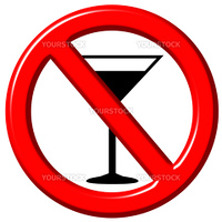No alcohol 3d sign isolated in white