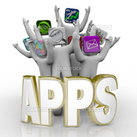 Several people with application icons as heads stand cheering behind the word Apps