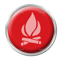 Red round button with the symbol of Fire