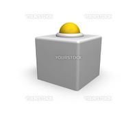 yellow alert button on white background - 3d illustration