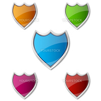 illustration of colorful shields on white background