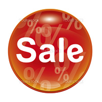 An image of a red sale icon