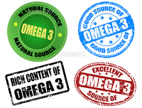 Set of grunge rubber stamps and label with the text omega 3 written inside