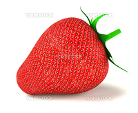 Large strawberry isolated over white 3d rendered